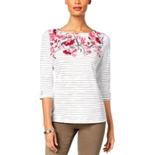 Karen Scott Petite Cotton Embellished Boat Neck Top