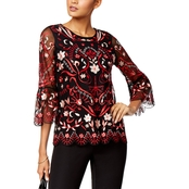 Alfani Petite Embroidered Mesh Bell Sleeve Top