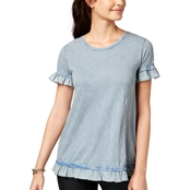 Style & Co. Petite Cotton Textured Ruffle Top