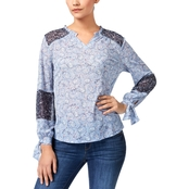 Style & Co. Petite Printed Tie Sleeve Top