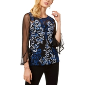 INC International Concepts Petite Embroidered Mesh Top