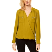 INC International Concepts Petite Zipper Pocket Surplice Blouse
