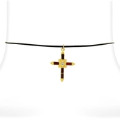 Symbols of Faith Baguette Cross on Black Satin Cord, 14 in.