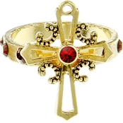 Symbols of Faith Goldtone Red Crystal Cross Ring