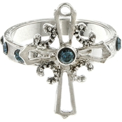Symbols of Faith Silvertone Blue Crystal Cross Ring