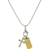 Symbols of Faith Silvertone Shotbead Chain with Love Dog Tag and Cross Charms