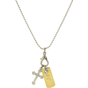 Symbols of Faith Silvertone Shotbead Chain with Joy Dog Tag and Cross Charms