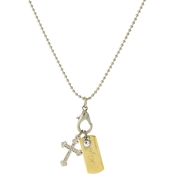 Symbols of Faith Silvertone Shotbead Chain with Hope Dog Tag and Cross Charms