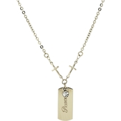 Symbols of Faith Silvertone Cross Chain with Peace Dog Tag, 20 in.