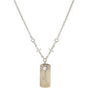 Symbols of Faith Silvertone Cross Chain with Love Dog Tag, 20 in.
