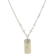 Symbols of Faith Silvertone Cross Chain with Joy Dog Tag, 20 in.