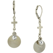Symbols of Faith Silvertone Round Love Disk with Cross Earrings