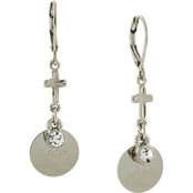 Symbols of Faith Silvertone Round Hope Disk with Cross Earrings