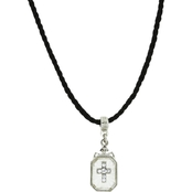 Symbols of Faith Silvertone Frosted Glass on Black Cord, 15 in.