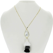 Panacea Cut Stone Howlite Pendant Necklace With Tassel