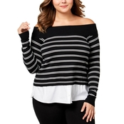 INC International Concepts Plus Size Layered Look Off the Shoulder Sweater