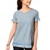 Style & Co. Cotton Textured Ruffle Top