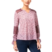 Style & Co. Printed Tie Sleeve Top