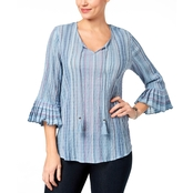 Style & Co. Pleated Bell Sleeve Top