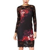 Thalia Sodi Printed Lace Trim Sheath Dress