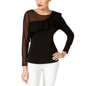 Thalia Sodi Asymmetrical Illusion Ruffled Top