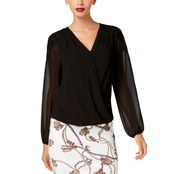 Thalia Sodi Printed Lace Shoulder Top