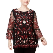 Alfani Plus Size Embroidered Illusion Mesh Tunic