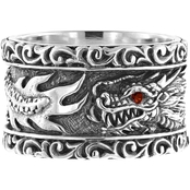 Robert Manse Designs Sterling Silver Dragon Ring with Red Sapphire Accent