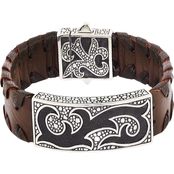 Robert Manse Designs Sterling Silver Brown Leather Bracelet