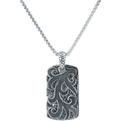 Robert Manse Designs Sterling Silver Double Dog Tag Pendant 22 In.