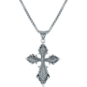 Robert Manse Designs Sterling Silver Gothic Cross on 22 In. Round Box Chain
