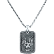 Robert Manse Designs Sterling Silver Carved Eagle Dog Tag Pendant 22 in.