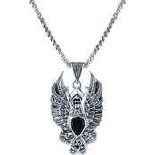 Robert Manse Designs Sterling Silver Black Onyx Eagle Wing Pendant 22 In.