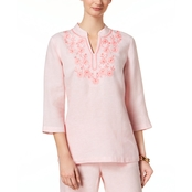 Charter Club Linen Embroidered Top