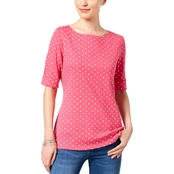 Karen Scott Cotton Polka Dot Print Top