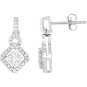 10K White Gold 1/2 CTW Diamond Adorne Fashion Earrings