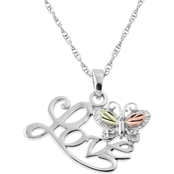 Landstrom's Black Hills Gold Sterling Silver Love And Butterfly Pendant