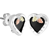 Landstrom's Black Hills Gold Sterling Silver Onyx Heart Earrings