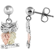 Landstrom's Black Hills Gold Sterling Silver Owl Earrings