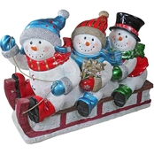 Design Toscano Downhill to the Holidays Illuminated Snowman and Sled Statue