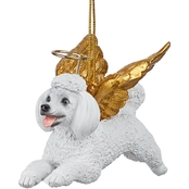 Design Toscano Honor the Pooch - White Poodle Holiday Dog Angel Ornament