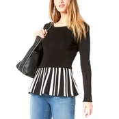INC International Concepts Striped Peplum Sweater