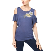 INC International Concepts Embroidered Cold Shoulder Top