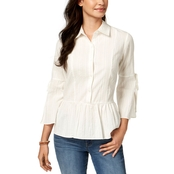 Style & Co. Cotton Peplum Shirt