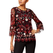 Alfani Embroidered Mesh Bell Sleeve Top