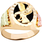 Landstrom's Black Hills Gold 10K Onyx Eagle Ring