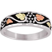 Black Hills Gold Sterling Silver Antiqued Band