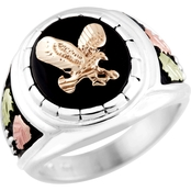 Landstrom's Black Hills Gold Sterling Silver Onyx Eagle Ring