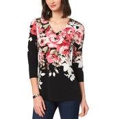 Charter Club Floral Print Split Back Top