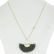 Panacea Fan Pendant Necklace With White Stone Topper